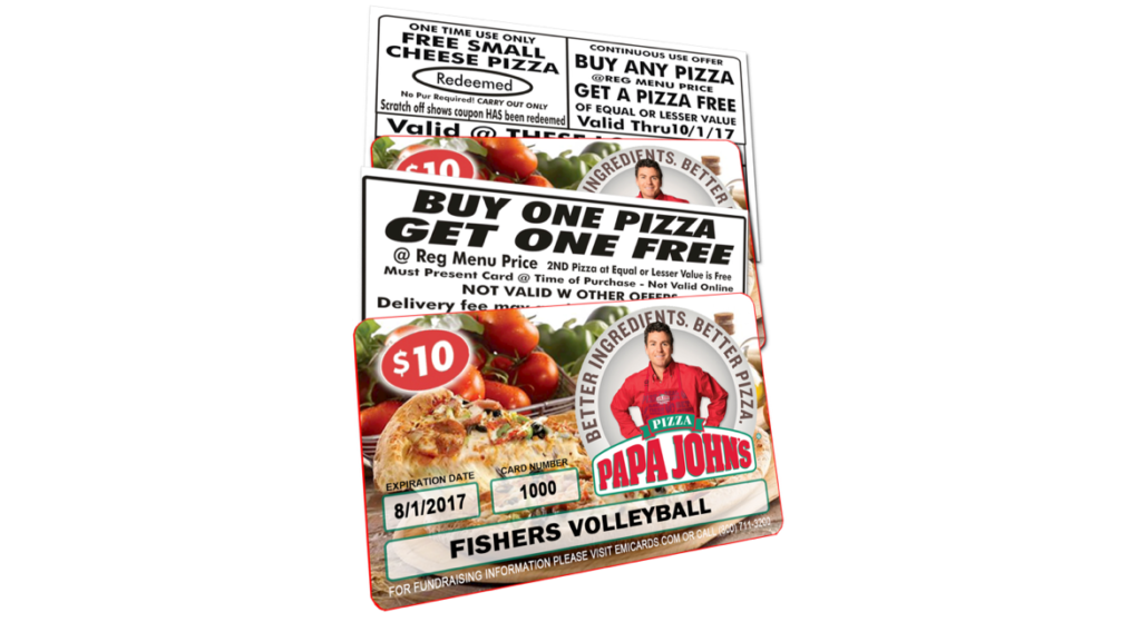 papa johns fundraising cards