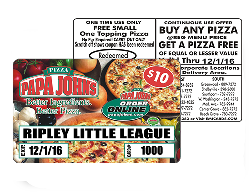 pizza card fundaiser